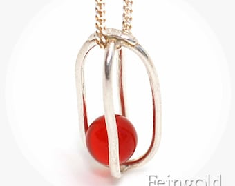 Gravity Collection: Sterling Silver Necklace with Floating Red Carnelian - Sterling Silver 18 Inch Chain- Free US Shipping
