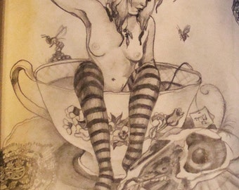 Print taken from my sketchbook of a bather in tea cup, a squirrel skull, bees, beetles and lace study 8 by 10