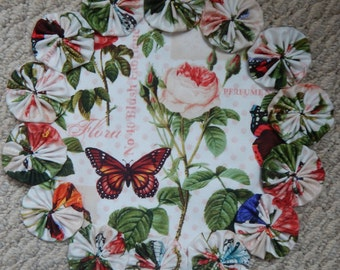 "Butterfly and Pink Rose 12"" Yo Yo Doily"