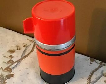 "Vintage Aladdin No. 3B Half Pint Vacuum Bottle ""ECONOMY"" Red and Black THERMOS 1960s"