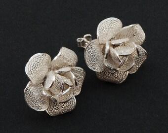 Thea Rose - Silver Filigree earrings