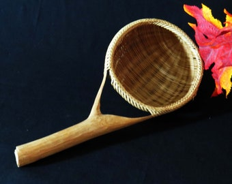 "Hand-Woven Rattan or Wicker Seive~Strainer on a Carved Wood Branch / 11"" Long Kitchen Seive-Kitchen Tool / Housewarming  Gift for Foodies"