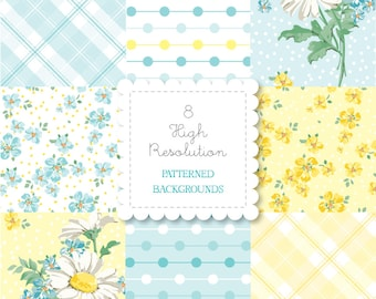 Printable DAISY patterned background set-instant download-for personal use -digital papers, retro, vintage, plaid, dots, spring, floral