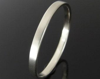 14k White Gold Wedding Ring, Flat Profile White Gold Wedding Band, White Gold Wedding Ring, 14k Gold Ring, Satin Finish, 2 x 1 mm
