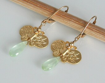 Gold Butterfly Earrings with Green Phrenite