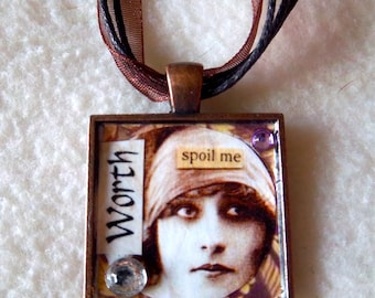 "Collage Pendant Necklace No.18 - ""Worth"" (Spoil Me)"