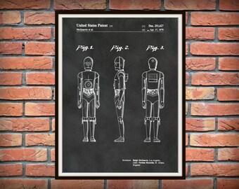 Patent 1979 Star Wars C3PO Robot - Art Print - Poster Print - Wall Art - George Lucas - Twentieth Century Fox - Lucas film