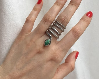 Snake Ring, Sterling Silver and Turquoise