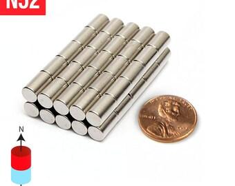 "100pcs 6mm x 10mm - 1/4"" x 3/8"" N52 Super Strong Rare Earth Neodymium Cylinder Crafts Fridge Magnets"