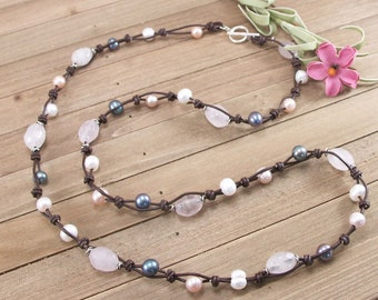 Rose Quartz Freshwater Pearl and Knotted Brown Leather & Sterling Silver Necklace