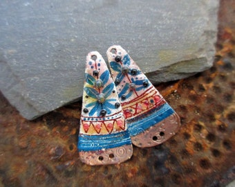 RESERVED for SUE - ethnic flower - enameled copper charms - pink orange blue white - Enameled copper charms.