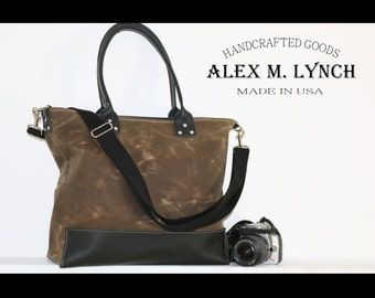 Large Waxed Canvas tote - heavy weight water resistant canvas and genuine leather accents - 8 pockets - 010047