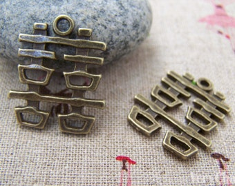 Double Happiness Antique Bronze Wedding Decoration Charms 20x22mm Set of 10 A3420