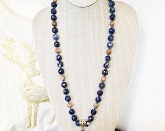 Sodalite and Oregon Sunstone Necklace Set