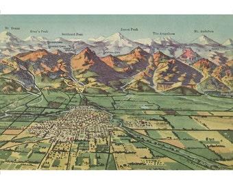 Print: Denver Mountain Ranges Vintage Poster
