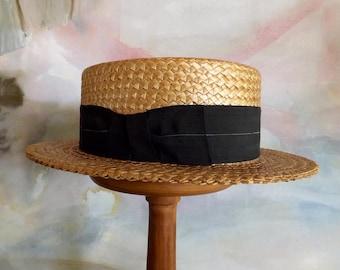 Vintage Boater Hat Straw 1940s