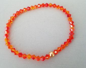 Orange Fire Opal Swarovski crystal stretch bracelet Sterling Silver or Gold Fill