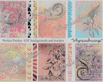 Digital Collage Sheet~ Perfect Paisley ATC backgrounds and Borders~ Instant Download