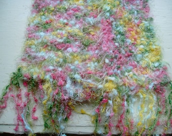 Hand Knit Multicolor Scarf - Long Hand Knit Scarf