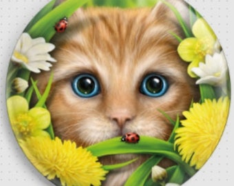Ginger Cat Needle Minder, Summer Cat, SheBlackDragon, Cross Stitch Accessory, Cross-Stitch Pin Keeper, Fridge Magnet, Pin Minder, Cat Magnet