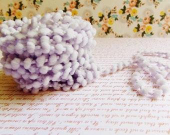 Pastel Lilac Mini Pom Pom Trim ~doll clothes supply, baby kids wedding hair bow band embellishment, scrapbook gift wrap tiny novelty garland