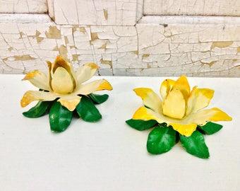 Vintage Floral Candlestick Holders (set of two)