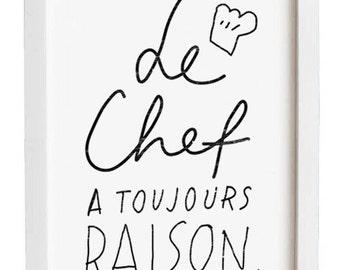 "French Kitchen Art - Le Chef - 11""x15"" - archival fine art giclée print"