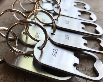6 Groomsmen Gifts Men's Bottle Openers Custom Initials SET of 6 Wedding Groomsmen Gifts