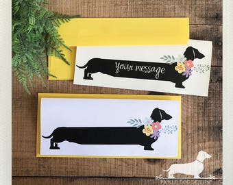 Floral Doxie. Note Card -- (Personalized, Flowers, Girly, Feminine, For Mom, Rustic, Dog, Dachshund, Vintage-Style, Wiener Dog, Weiner Dog)