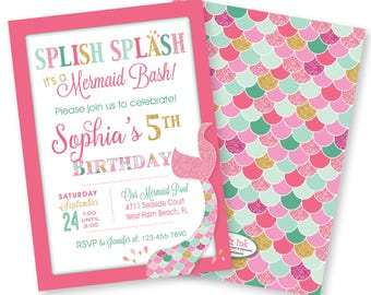 Mermaid Birthday Bash Invitation | Pink Mint Gold | Any Age | Splish Splash | Under the Sea | 5x7 | Customized Printable DIGITAL FILE