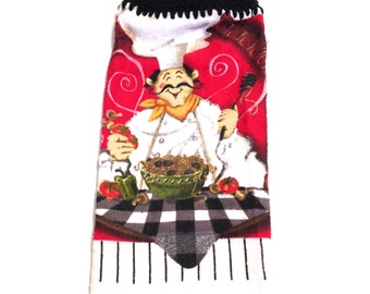 Chef Hand Towel With Black Crocheted Top