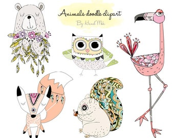 Animals doodle, Woodland Clipart ,Animals clipart Instant Download PNG file - 300 dpi