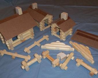 Handmade 'Lincoln Logs' 110 piece set