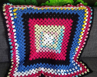 Swedish Granny Square. Blanket Crocheted Vintage. Soft Lovely Handmade Perfect Cold Evenings or for the Baby