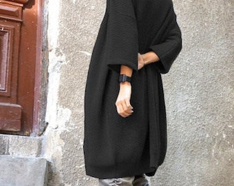 ON SALE NEW Cardigan / Oversize Black Midi Sleeve Fully Knit  Vest / Fully Knit Top / Maxi Open Overall / Soft and Comfortable by  Aakasha A