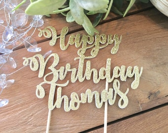 Personalized Happy Birthday Cake Topper, glitter birthday cake topper, Birthday cake topper, Customer happy birthday cake topper
