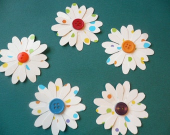 """Daisy Shape Flowers with Colorful Button Centers, Ten Double Layered Polka Dot Paper Flowers  2 1/4"""" and 2"""" size Flowers"""