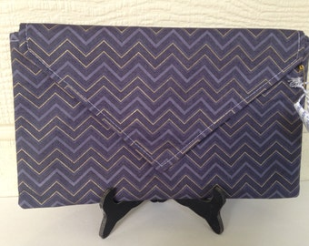 Purple and Gold Envelope Clutch, Chevron and Yellow Quatrefoil Interior Handmade Clutch Date Night Clutch Purse, Envelope Clutch