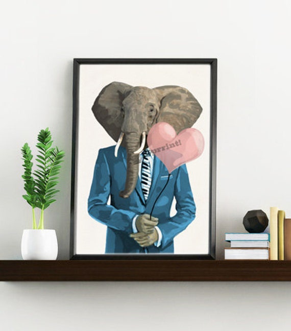 Funny animal wall art 80's Elephant in love Elephant with heart shaped balloon Decor print, Elephant in love  ANI095WA4