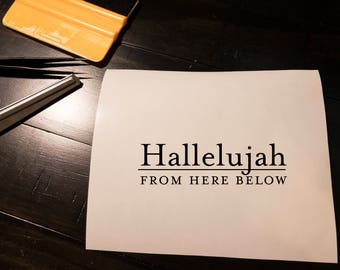 Hallelujah Decal, Hallelujah from here below, Christian Decal, Christian Sticker (Set of 2) (Multiple Colors, Can Mix)