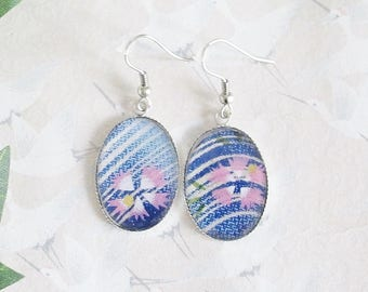 Earrings * sakura * * cherry blossom * rose on blue background