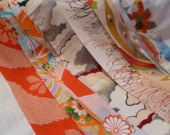 Assorted Antique / Vintage Japanese Kimono Fabric 100g - longstrip03