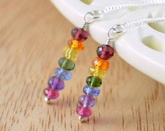 Colorful Earrings, Rainbow Threaders, Bright, Genuine Gemstone Stacks, Box Chain, Sterling Silver Jewelry, Free Shipping