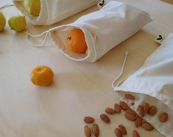 Small Reusable Produce Bag- Organic Natural Cotton, unbleached- Eco Friendly- GOTS Certified