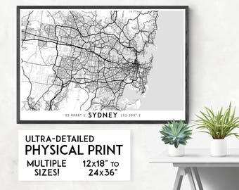 Every Road in Sydney map poster, Sydney print, Sydney map print, Australia map, Sydney city map, Sydney poster, Sydney wall art, NSW map