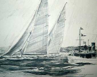 Ranger and Endeavour II (British) 1937 - 12x16 Sketch - By Robert James Pailthorpe