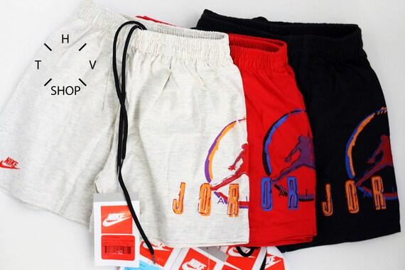 NOS Vintage Nike Air Jordan Champion junior shorts / Kids basketball pants  / Youth trunks / Black Grey Red deadstock / Made in Greece 90s