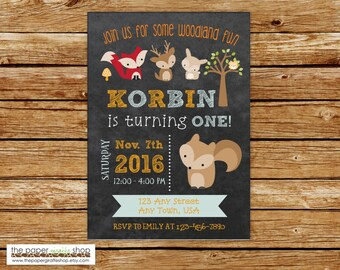 Woodland Invitation | Woodland Creatures Blue & Orange Chalkboard Invitation | Woodland Creatures Birthday Party | Forest Friends Invitation