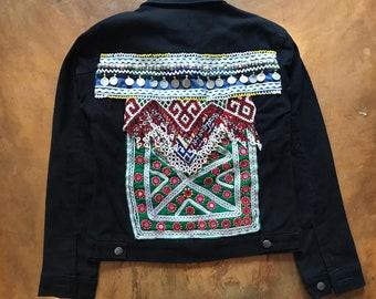 denim jacket denim patch vintage denim jacket jean jacket vintage patch  denim jacket beaded boho festival jacket