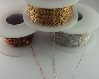 2 x 2.5 x 0.8mm Flat Cable Chain ,Chain by Foot, Layering, Modern, Simple, Everyday Wear, Delicate, Dainty Chain SCNF032,1617F